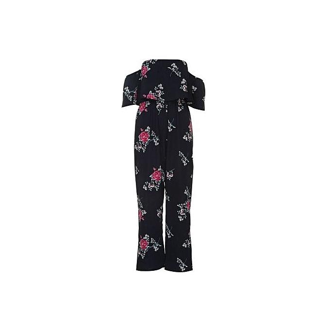 d909183d64 bluerdream-Women Off Shoulder Floral Print Jumpsuit Summer Loose Playsuit  Rompers L- Navy L