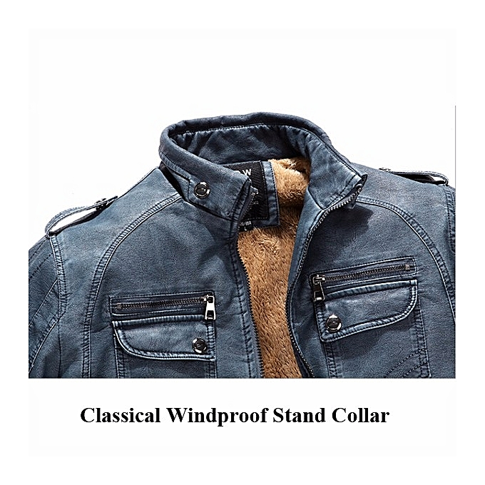 10892f464 Mens Winter Velvet Plus Thick Warm Stylish Motor Yellow Faux Washed Leather  Jackets
