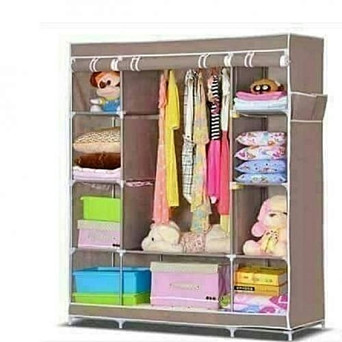 Portable Wooden Wardrobe 3 Columns 130 170 45cm Brown