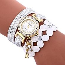 Henoesty Fashion Chimes Diamond Leather Bracelet Lady Womans Wrist Watch White