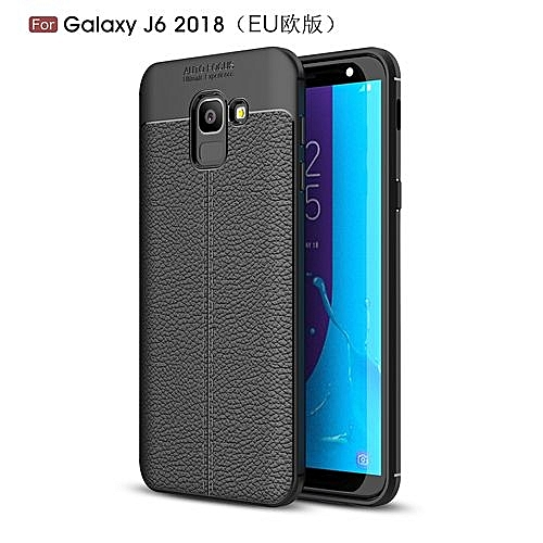 low priced 47486 1ce7e Samsung Galaxy J6 2018 Silicone Case Litchi Pattern TPU Anti-knock Phone  Back Cover - Black