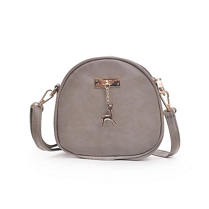 12cfde74cf Fashion Women Deer Shoulder Bag PU Leather Circle Mini Crossbody Bag  Messenger Handbag Black Grey