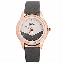 Watch Woman Fashion Leather Band Analog Quartz Round Wrist Watch Watches-gray