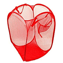 Foldable Pop Up Washing Laundry Basket Bag Hamper Mesh Storage Red