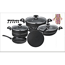 Galaxy 17 pcs non stick set (glass lid)