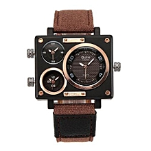 Collection Men's Quartz Watch Rectangle Case 3 Time Zones Fabric Leather Military Sports Watch Men Relogio Masculino(Brown)