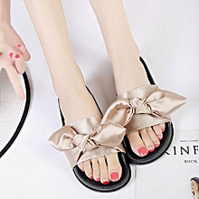 edbd219a16c Jiahsyc Store Summer Women Bow Wedge Sandals Beach Shoes Flip Flops  Platform Slippers-Khaki