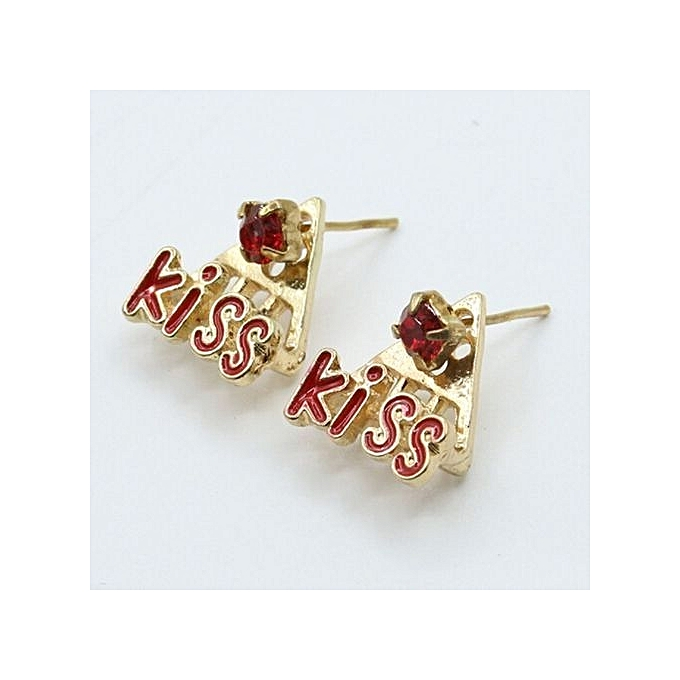 Tanson Kiss Earrings Inlaid Diamond Stud Red