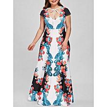 Plus Size Low Cut Floral Paisley Party Dress - COLORMIX