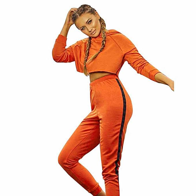 0e682316090 Womens Sport Hoodies Sweatshirt Crop Tops Pants Set 2Pcs Tracksuit Sweat  Suit