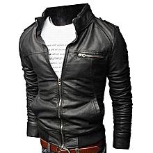 Men Slim PU Leather Rider Jacket - Black