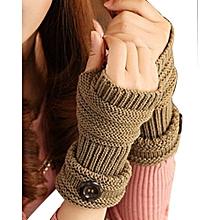 Winter Knitted Arm Warmer Fingerless Gloves For Women Girls - Khaki