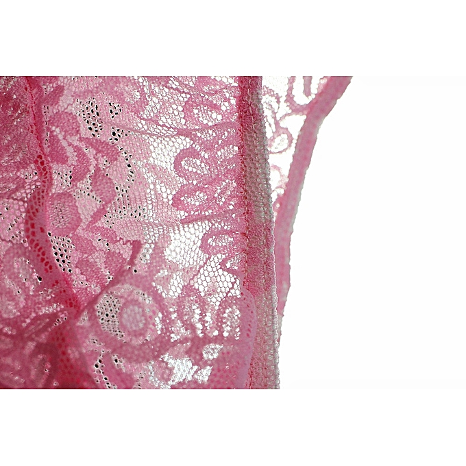 jiuhap store Men s Hot Sexy Lace Underwear Boxer Brief Shorts Underpants  PK L-Pink