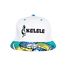 White And Cyan Snapback Hat With Kelele Colors On Brim