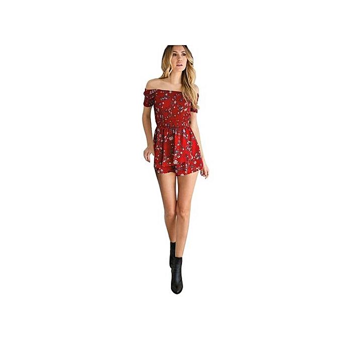 d7b7095320 ... bluerdream-Womens Off Shoulder Floral Mini Playsuit Ladies Shorts  Jumpsuit Romper-Red ...