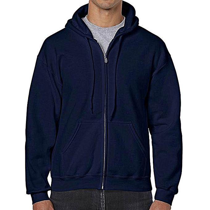 GILDAN Navy Blue Men s Adult Full Zip Hooded Sweatshirt   Best Price ... 32a0676cc8f