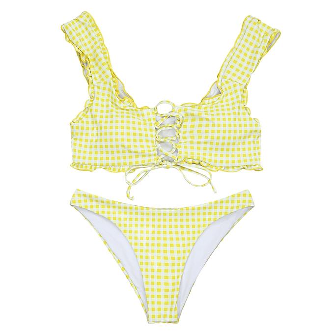 f4ba106f6f ZAFUL Frilled Gingham Lace Up Bralette Bikini Set