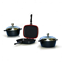 Magic Grill double Pan with 2 Non -Stick cooking pots - Black