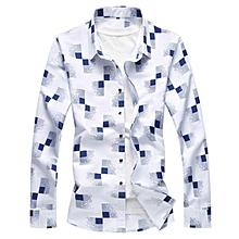 Print Mens Shirts Turn-down Long Sleeve Shirts (White)