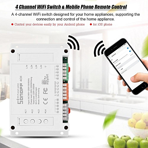 4 Channel Mounting Smart Home WiFi Switch Socket Module Timer AC 90-250V