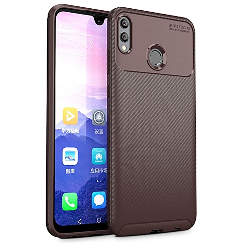 newest 72ab8 e0f92 Huawei Honor 8X Silicone Case TPU Carbon Fiber Pattern Anti-knock Phone  Back Cover - Brown