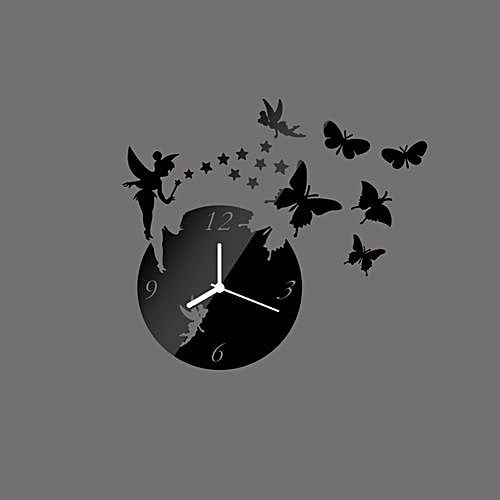 generic modern 3d diy butterfly fairy sticker wall clock black