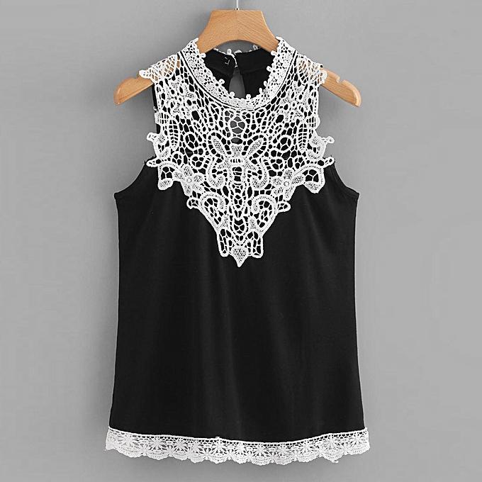 c25a5da222c birthpar store Women Ladies Summer Casual Lace T-Shirt Sleeveless Vest Tank  Tops Blouse L-Black