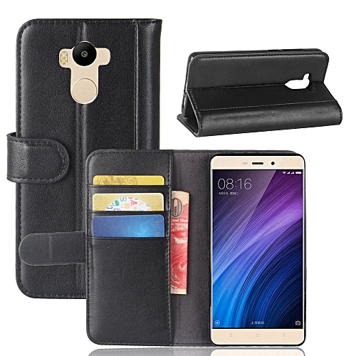official photos 7af42 3b58a Real Leather Wallet Case Cover for Xiaomi Redmi 4 Prime