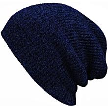 Unisex Knit Cotton Baggy Beanies Caps Crochet Slouchy Oversized Hats Warm Skullies Toucas Caps Dark Blue