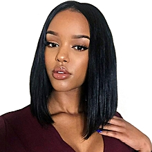 Short Lace Front Human Hair Wigs Bob Wig With Pre Plucked Hairline Lace Wig - Black