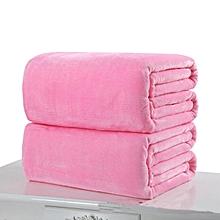 Luxury Flannel Warm Large Soft Solid Blanket Throw Fleece Sofa Bedding Sheet New#Pink 50*70cm