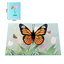 1Pcs 3D Butterfly Pop Up Card Birthday Envelopes Hollow Out Greeting orange