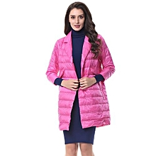 Women Thickening Fold Collar Warm With Pocket Outwear - Rose