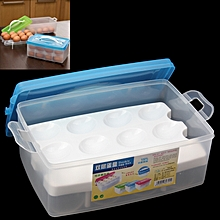 Double Layer Egg Storage Box For 24 Eggs(blue)