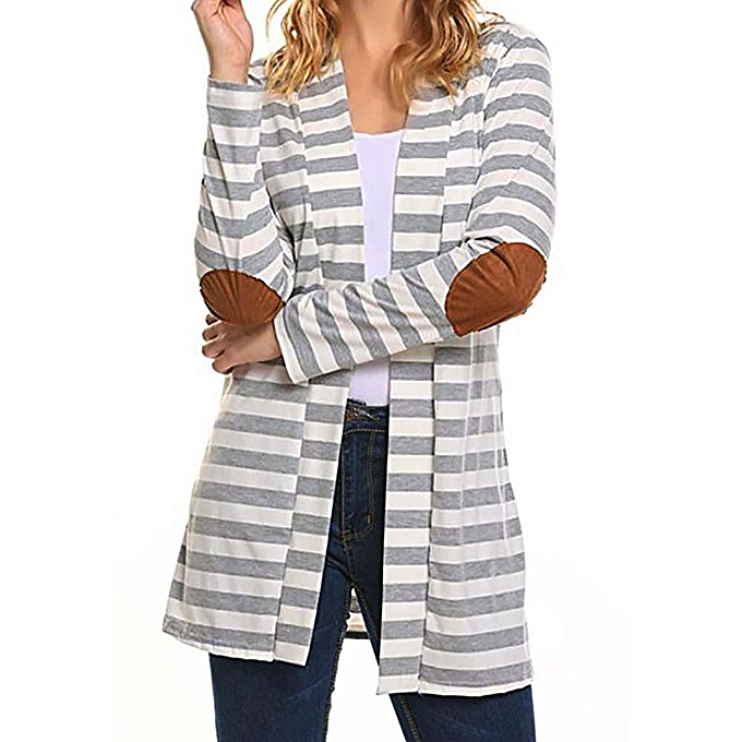 c5c6549e3b3a jiuhap store Women Casual Long Sleeve Oversized Striped Cardigans Patchwork  Outwear Coat -Gray