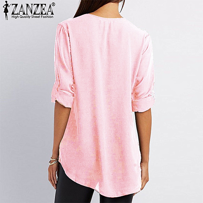 9574f9133152 Fashion Women Low Cut Solid Loose Blouse Shirt Ladies Wear To Work ...