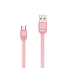 Remax RC-045m Puff Series HI-Speed 2.1A Charge & Data Micro USB Cable for Samsung/Asus/HTC/Lenovo/Sony/Oppo/XiaoMi - Pink DIOKKC