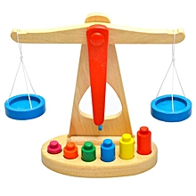 Wooden Balance Scale Early Learning Weight Child Kids Intelligence Toys