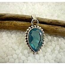 925'Sterling Silver with Blue Topaz Gemstone Pendant