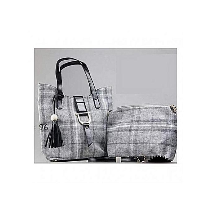 Classy Canvas Handbags With Small Twin Bag Grey