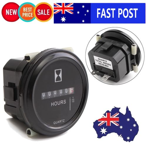 2 Round Quartz Hour Meter Hourmeter Boat Lawn Tractor Gauge Dc10 80v Outboard