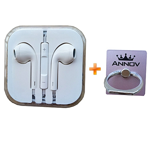 Earphones for iPhone - White,get one free rose gold ring holder