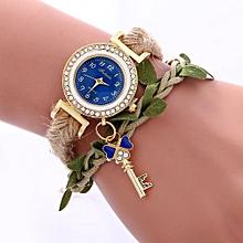 Women Ladies Casual Leaves Braided Rope Strap Quartz Wrist Watch BU
