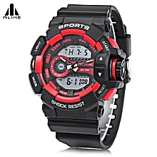AK14111 Male Dual Movt Sport Watch Alarm Chronograph Men Wristwatch-Red-Red