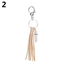 Women Faux Feather Tassel Pendant Keychain Handbag Decor (Beige)