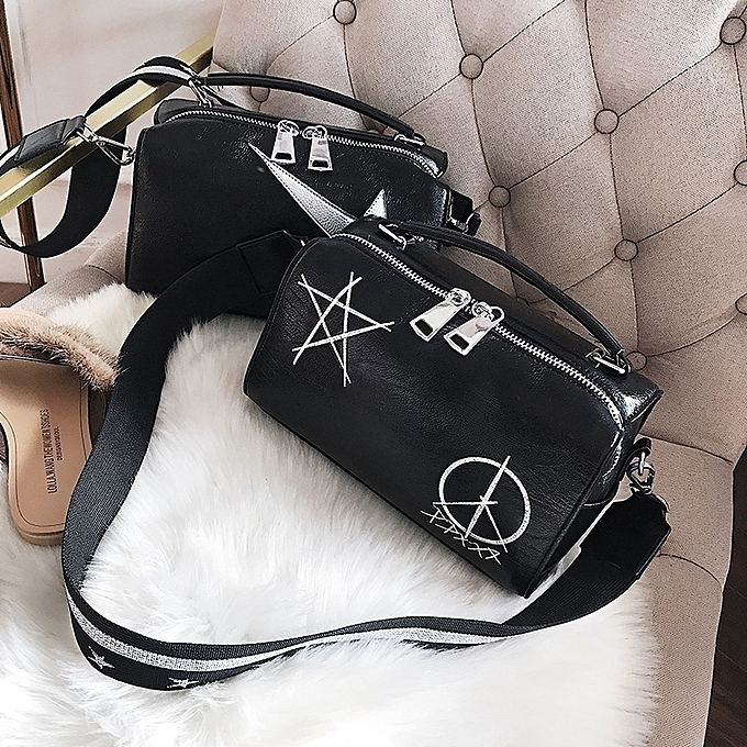 Boutique 2018 New Soft Leather Handbags Europe And The United States Fashion Embroidery Stars