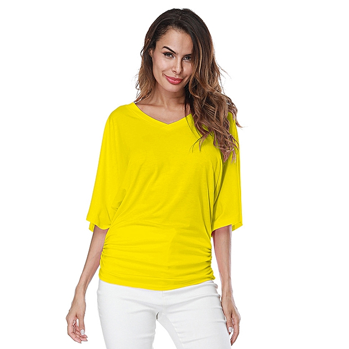 2cc8523628e06 New Women Loose T-shirt Ruched V-Neck Batwing Short Sleeves Solid Casual Top