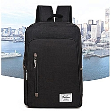 Backpack Laptop Bag Pack Travel Vintage Teenage College Double Shoulder School Pure-black