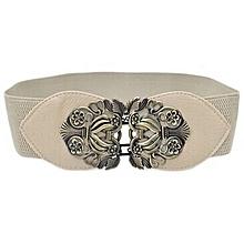 Hiamok_Women Fashion Vintage Wide Elastic Stretch Buckle Waist Belt Waistband BG