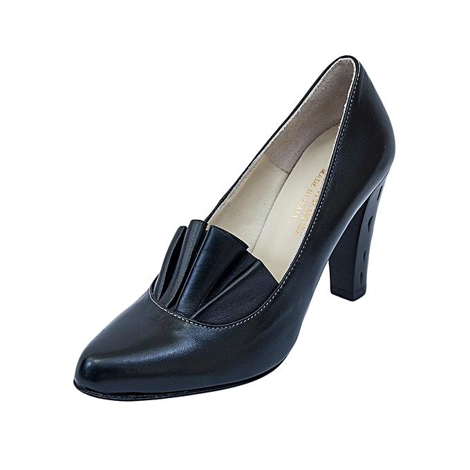 2234ef84de1e Melia Black Classic Official Leather Ladies Mid Heel Shoes   Best ...